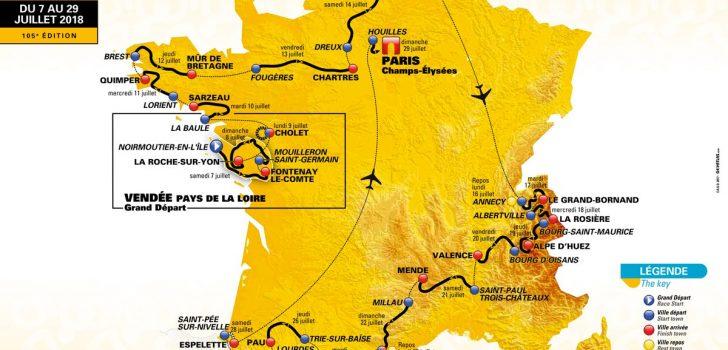 Tour de France 2018 kent zes bergritten, twee tijdritten