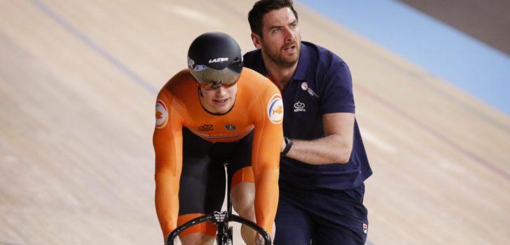 Harrie Lavreysen en Jeffrey Hoogland in halve finales sprint