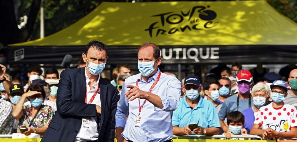 Tourbaas Christian Prudhomme tijdens het Criterium du Dauphiné 2020