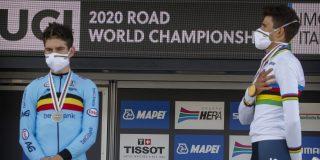 """Wout van Aert pakt zilver op WK tijdrijden: """"Toptijdrit, maar Ganna was een stuk sterker"""""""